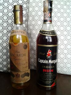 Very old bottles of Rhum 75 cl. - Bacardi Rum Superior 1970s - Mexico and  Captain Morgan Black label 1960s - Jamaica