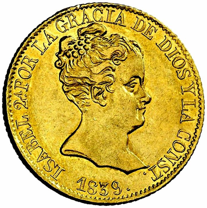 Spain - Isabel II (1833–1868), 80 Reales in gold - Barcelona 1839 PS