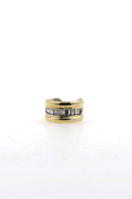 9 kt yellow gold vintage men's ear stud 1 piece 0.50 ct baguette diamonds - Size: 9.85 x 5.49 mm