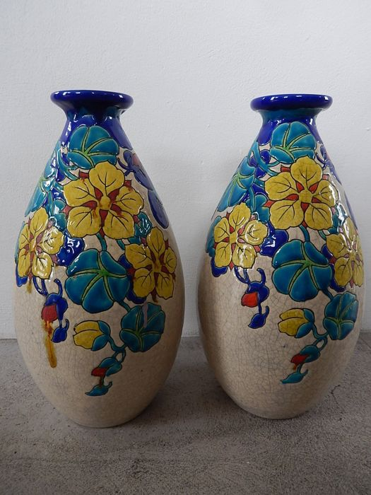 Charles Catteau for Boch Frères Keramis - A set of  polychrome earthenware vases