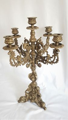 Large ornate five-armed candlestick in Rococo style with angels (4.5 kg!)