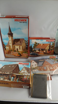 Piko, Vollmer H0 - 9210/3684/9213/6020/61915 - Scenery - Party building boxes church, shops and home