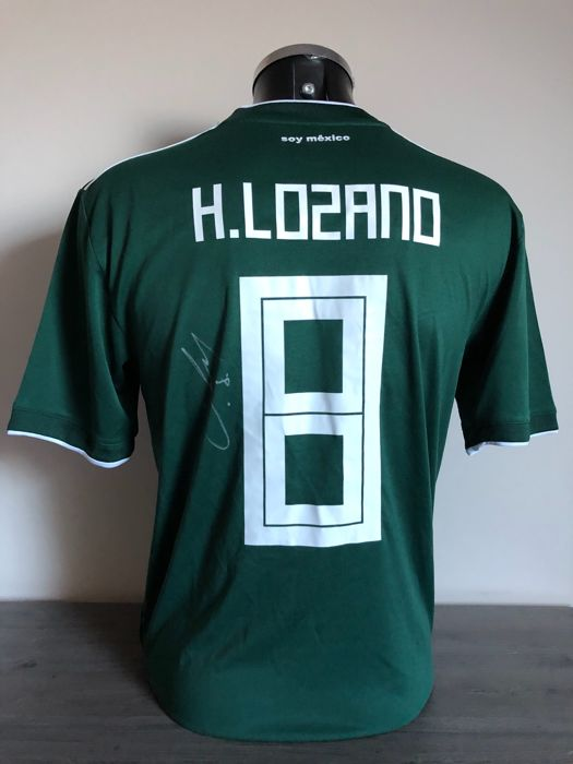 Hirving Lozano signed Mexico home World Cup shirt 2018 with photos of the moment of signing and COA