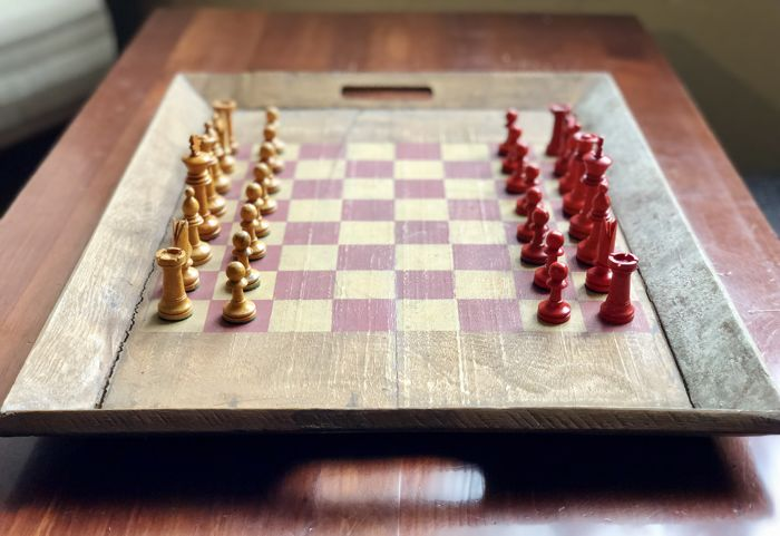 Old English chess with wooden board