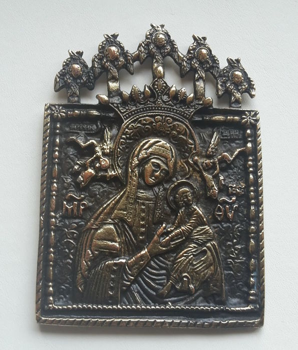 "A brass Russian orthodox  travelling icon "" Virgin of Passion"" of 20 century - no reserve price"