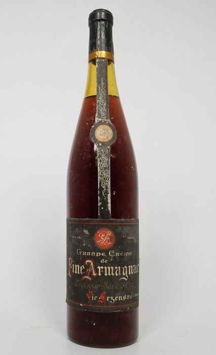 Grande Crème de Fine Armagnac tall 1 liter bottle 1950s very collectible
