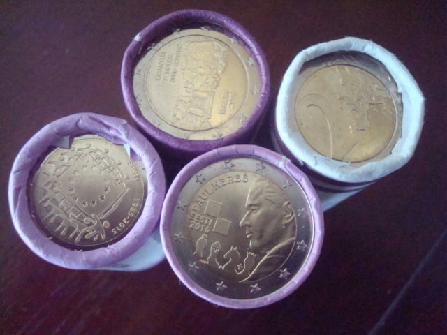 Estonia, Malta and Slovakia - 2 Euro 2009/2016 (100 pieces) in 4 coin rolls