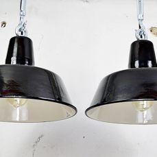 Siemens - black enamel industrial factory light (2x) (lot 1)