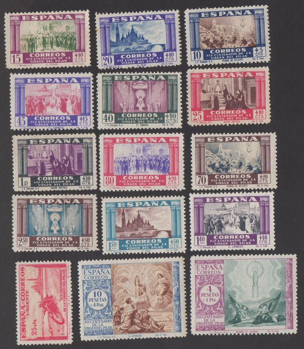 Spain 1940 - 19th centenary of the coming of the Virgen of Pilar to Zaragoza - Edifil 889/903