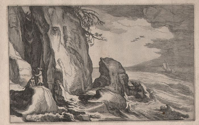 Boëtius Adamsz. Bolswert (1580-1633)  - Rocky coast with two figures climbing a large rock