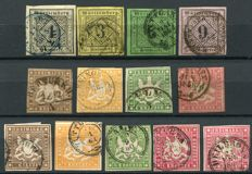Württemberg  1851/1859 - Selection classics - Michel 1/4, 6/9, 11/14