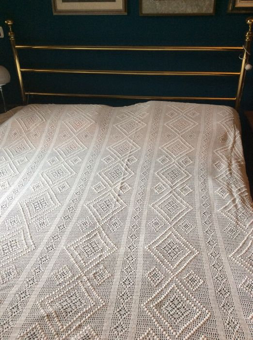 Handmade cotton bedspread, mid 20th century, Italy