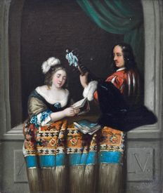 Continental school (19th century) - A couple of lovers