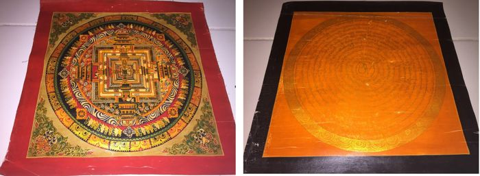 Lot of 2 Handpainted  Thangka paintings, Representing Kalachakra & Mantra Mandala - Tibet/Nepal - Late 20th Century