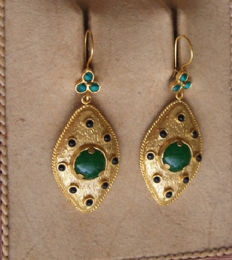 Italian earrings 24 kt plated on silver 800, green agate, turquoise