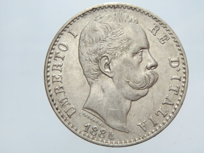 Kingdom of Italy - 2 Lira, 1884 - Umberto I - silver