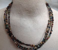 Three necklaces with Egyptian faience beads - approx. 43 cm