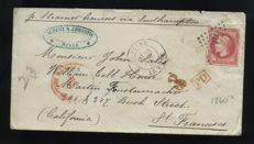 France 1869 - Letter with Napoleon III 80c pink sent with steamer to San Francisco - Yvert 32