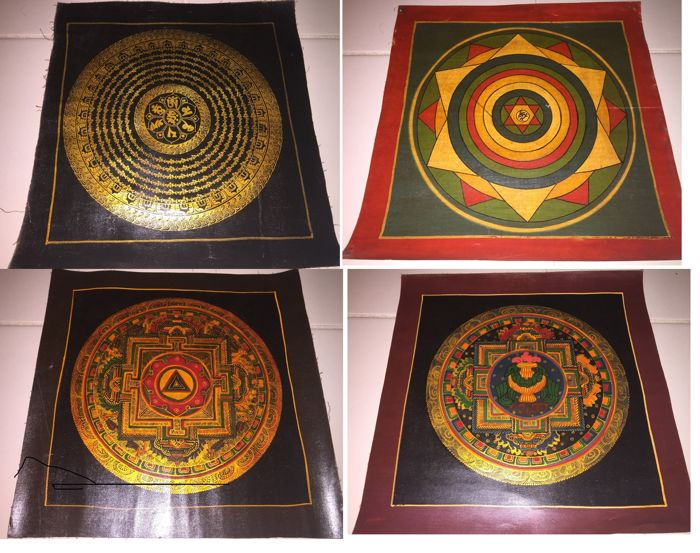 Lot of 4 Handpainted Thangka oil paintings, Yantra Mandala- Tibet/Nepal - Late 20th century