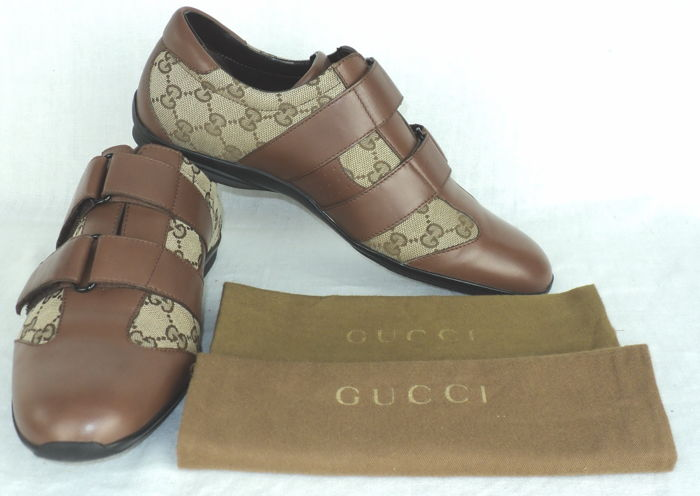 77ffb9c5f Gucci Guccissima - Canvas and Leather Velcro Low Top Sneakers ...