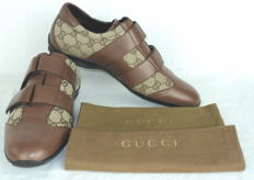 Gucci Guccissima - Canvas and Leather Velcro Low Top Sneakers