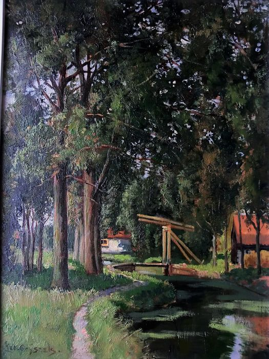 "Leo Gryseels ( 1884- 1966). - ""Hollands landschap met ophaalbrug"""