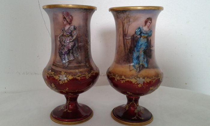 A pair of Vienna enamel vases, early 20th century