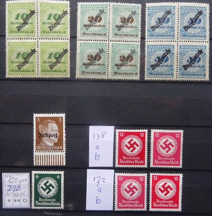 German Reich 1923/1944 - Official and military post - Offical 86/88, 135y, 138a/b, 172a/b, military post 17