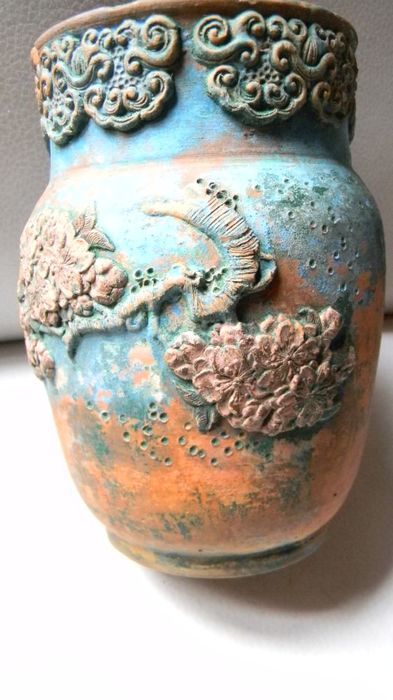 Small Tookname fish jar with turquoise glaze – Japan – First half of the 20th century