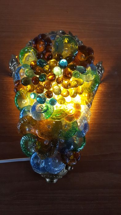 Glass wall light - glass flowers and drops, circa 1960, Italy