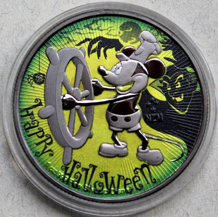 Niue - 2 Dollars 2017 'Steamboat Willie Mickey Mouse / Halloween Green' - 1 oz silver
