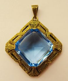 Pendant, 835 silver topaz, gold plated, vintage