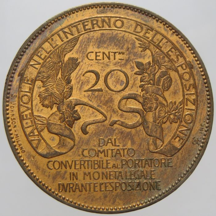 "Kingdom of Italy - 20 Cent, 1906 - ""Milan Fair"", Vittorio Emanuele III"
