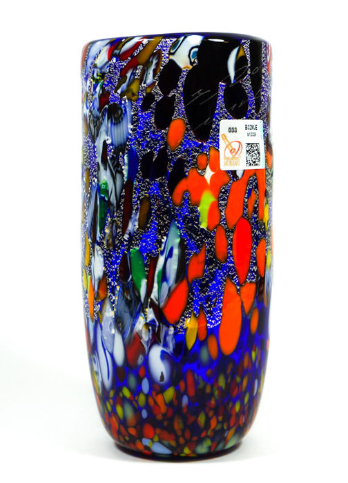 Imperio Rossi (Murano) - Blue Murrina and Silver Leaf Cylinder vase