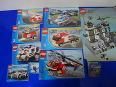 City - 7237 + 7239 + 7741 + 7238 + 7245 + 7236 + 30018 + 5610 - Police Station + Fire Truck + Police Helicopter + Coast Guard Helicopter & Life + Prisoner Transport + Police car + Police Microlight + Builder