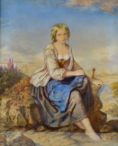 Jules Bouvier (1800-1867) - A seated young woman in a landscape