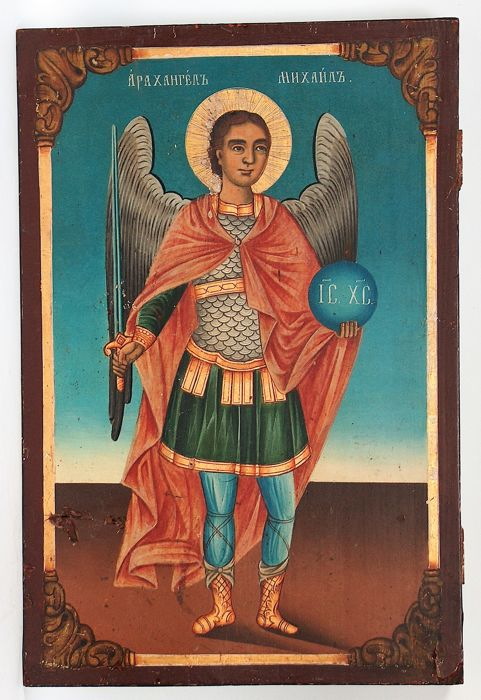 Russian wooden icon of Archangel Michael - second half 19th century
