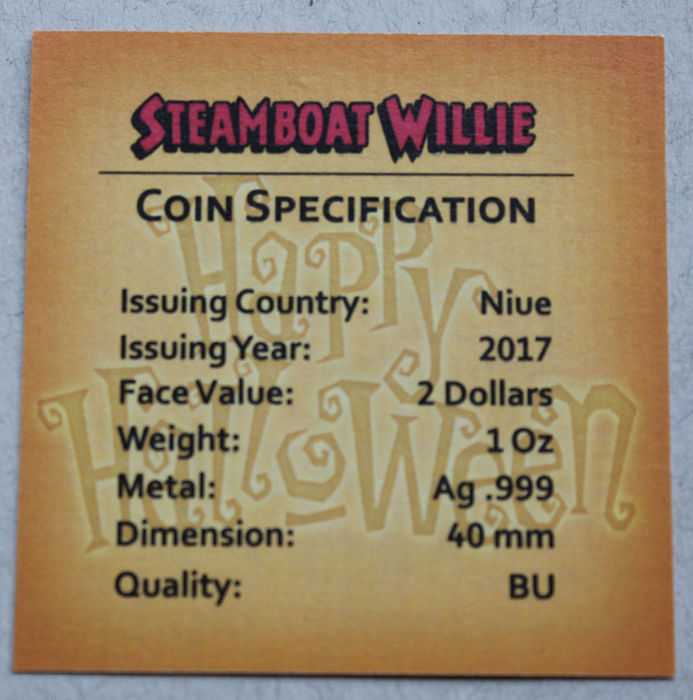 2017 Nieu 2 $ Steamboat Willie Mickey Mouse Halloween Orange 1 Oz 999 Coin