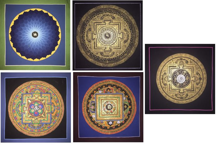 Lot of 5 Handpainted Thangka paintings, Yantra Mandala- Tibet/Nepal - 21st century