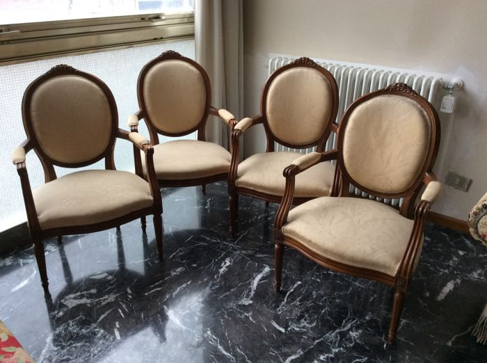 Four armchairs in Louis XVI style, 20th century