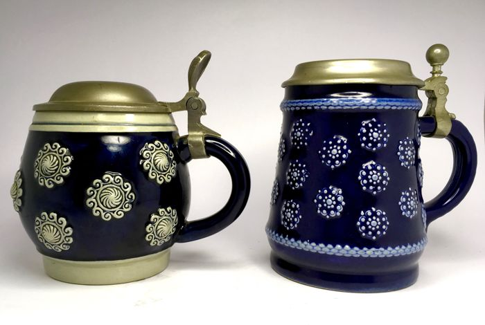 Marzi & Remy - Werner Corzelius - Two Beer steins with floral decor  - well marked