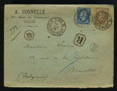 France 1895 - Registered shipping to Belgium with mixed franking - Yvert 14A and 30