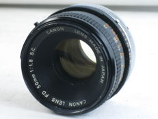Canon FD 50mm/1.8 lens, for Canon SLR cameras with FD bayonet mount, EXC++. Ca. 1970