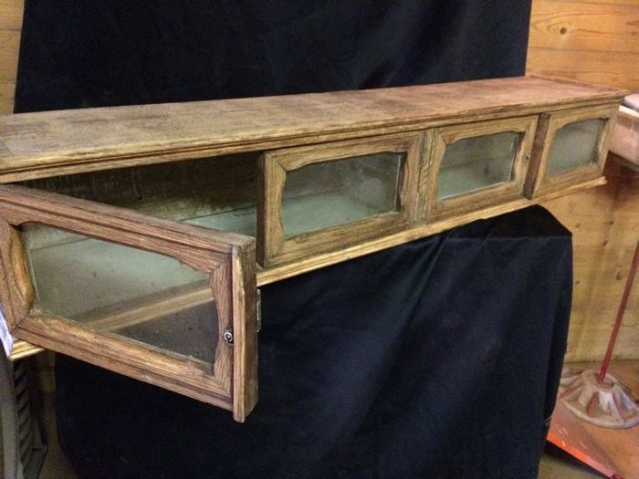 Pharmacy wall shelf - 1920, France, wood and glass doors