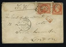France 1861 - Letter with 2 x Napoleon III 40c orange and with ES1 stamp - Yvert 16a