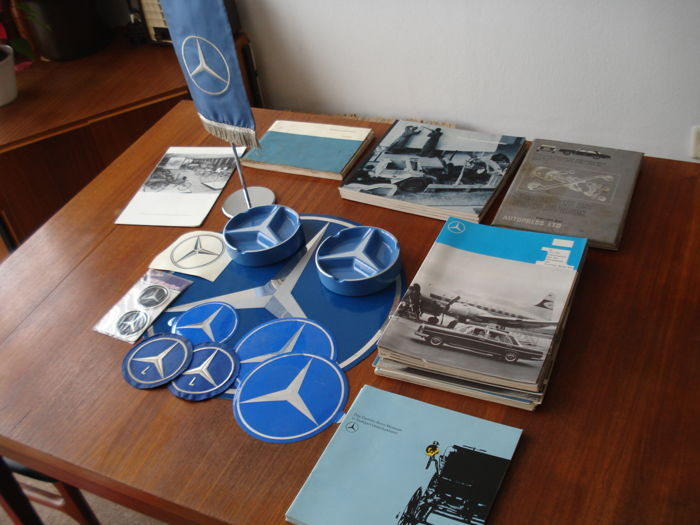 Mercedes-Benz - collection of documentation, ashtrays, flag, stickers, patches