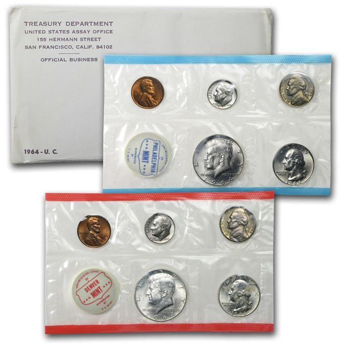 United States - 1964 US mint - coins set silver Kennedy half dollars - Roosevelt dime - Lincoln cent - Jefferson nickel -  10 coins - rare