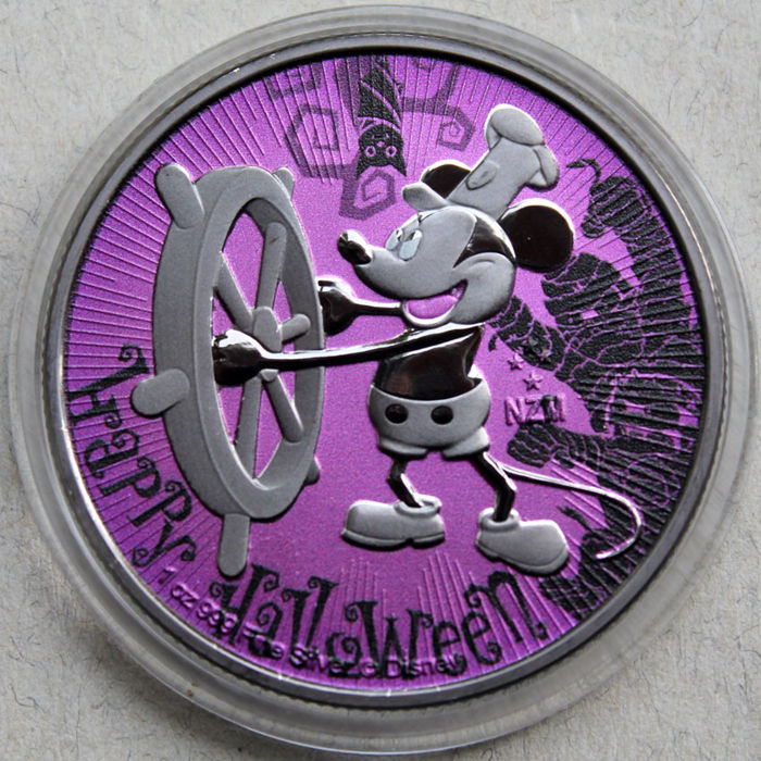 Niue - 2 Dollar 2017 Steamboat Willie Mickey Mouse - Halloween - 1 Oz - Silber