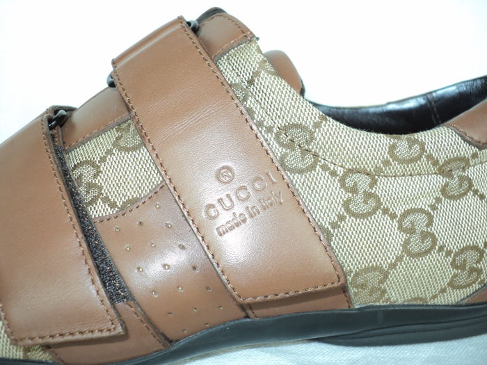 a34a392f3 Gucci Guccissima - Canvas and Leather Velcro Low Top Sneakers - Catawiki