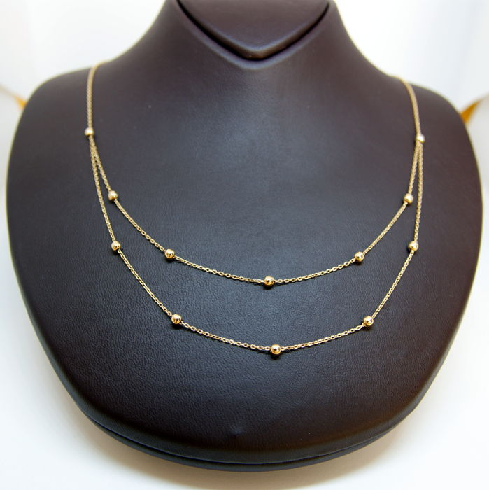 14k yellow gold necklace golden ball decorated catawiki 14k yellow gold necklace golden ball decorated aloadofball Image collections